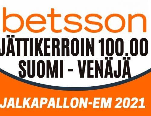 Betssonilta jopa 100,00 kerroin Suomen voitolle!