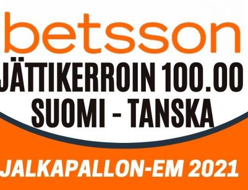 Betssonilta jättikerroin Suomen voitolle Tanskasta ja mahtava talletusbonus!